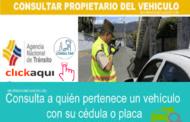Como consultar a quien le pertenece un vehículo solo con numero de cédula o placa